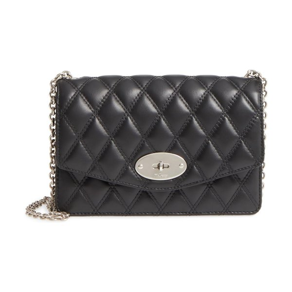 Mulberry small darley lock quilted calfskin leather clutch in black - Lots of card slots and an optional strap make this...