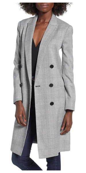 Mural longline glen plaid blazer in black plaid - So long you could even wear it as a standalone piece,...
