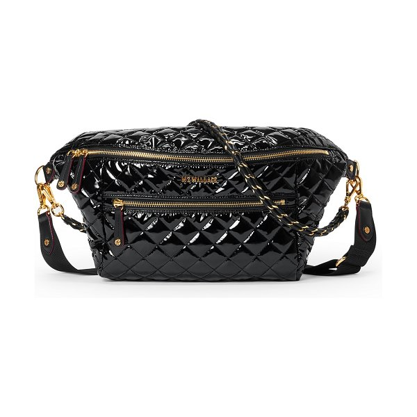 MZ Wallace Crosby Patent Quilted Sling Belt Bag in black lacquer cro