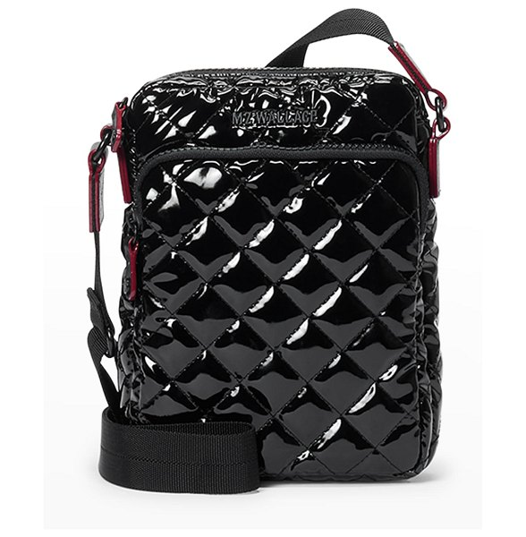 MZ Wallace Metro Patent Quilted Crossbody Bag in black lacquer oxf