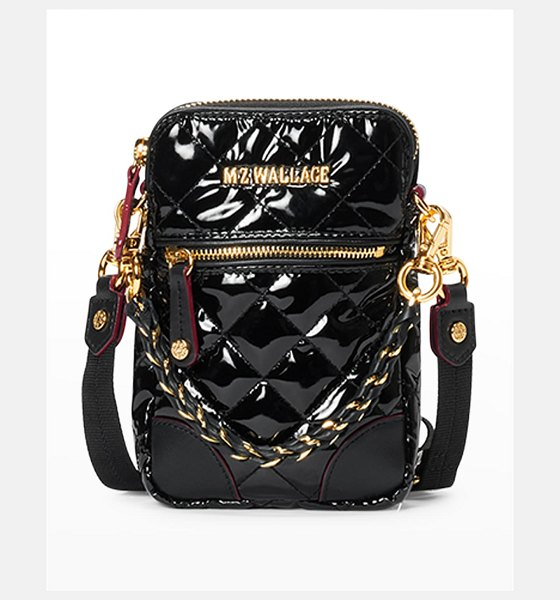 MZ Wallace Patent Quilted Micro Crossbody Bag in black lacquer cro
