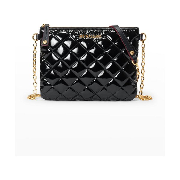 MZ Wallace Ruby Patent Quilted Crossbody Bag in black lacquer cro