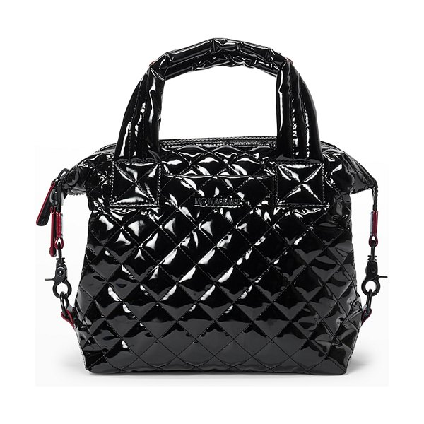 MZ Wallace Sutton Deluxe Small Patent Quilted Crossbody Bag in black lacquer oxf