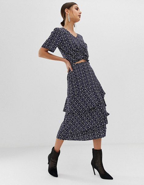 NA-KD two-piece flower print midi frill skirt in navy in navy