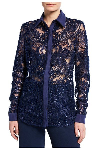Naeem Khan Lace Button-Front Shirt in navy