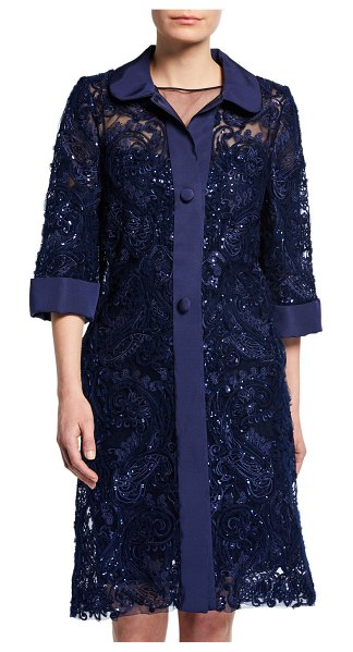 Naeem Khan Lace Midi Coat in navy