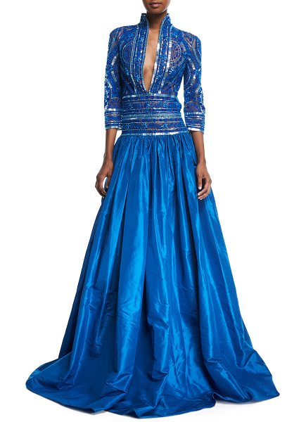 Naeem Khan Stand-Collar Plunging Beaded-Bodice Ball Gown in Blue ...