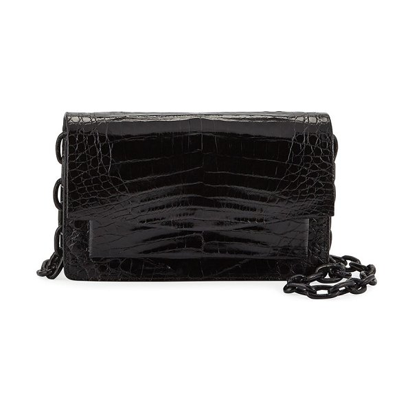 Nancy Gonzalez Eden XS Crocodile Crossbody Bag in black
