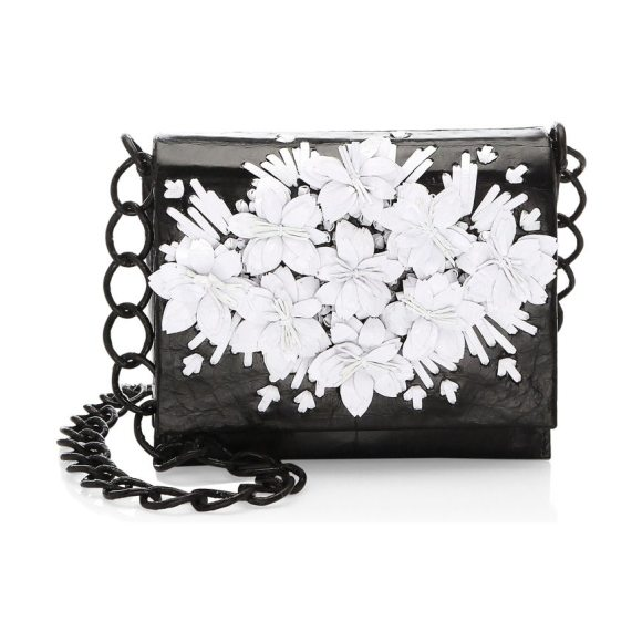 NANCY GONZALEZ floral raffia crocodile crossbody - Floral embellished bag with oversized linked chain....