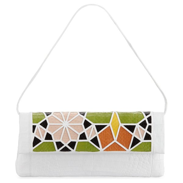 Nancy Gonzalez Gotham Crocodile Patchwork Clutch Bag in white pattern