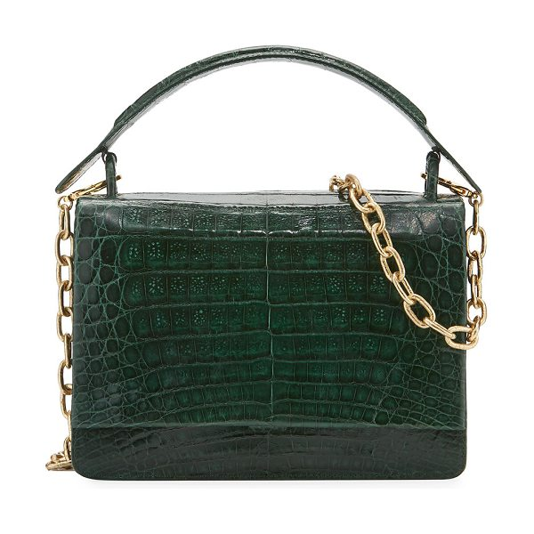 Nancy Gonzalez Medium Crocodile Top-Handle Bag in multi - Nancy Gonzalez satchel bag in signature Caiman...