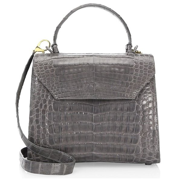 Nancy Gonzalez medium lily top handle bag in grey shiny,black - From the Resort Collection. Textured patent top handle...