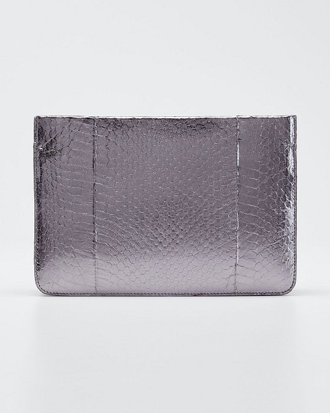 Nancy Gonzalez Small Soft Snakeskin Crossbody Bag in gray