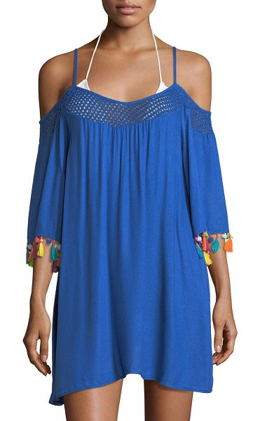 "Nanette Lepore Cha Cha Cha Off-the-Shoulder Coverup Tunic with Pompom in blue - Nanette Lepore ""Cha Cha Cha"" coverup tunic...."