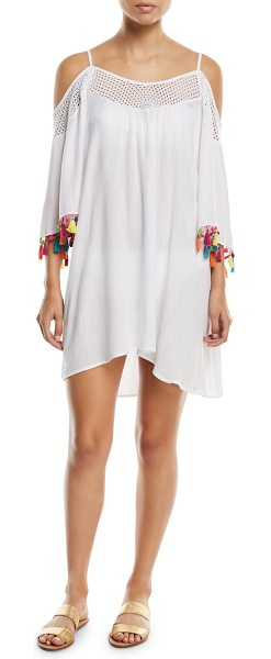 "Nanette Lepore Cha Cha Cha Off-the-Shoulder Coverup Tunic with Pompom in white - Nanette Lepore ""Cha Cha Cha"" coverup tunic...."