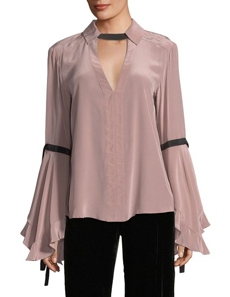 8dce44220311d3 Nanette Lepore Marie Flounce-Sleeve Silk Blouse in Pink