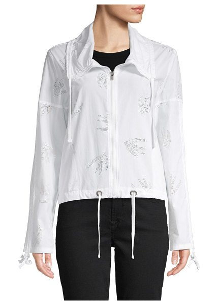 Nanette Lepore Perforated Zip Jacket in white