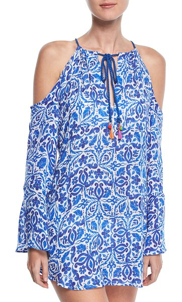 Nanette Lepore Talavera Printed Tunic Coverup in blue - Nanette Lepore tunic coverup in crinkle gauze with...