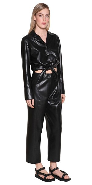 Nanushka Ana faux leather jumpsuit w/ cut out in black