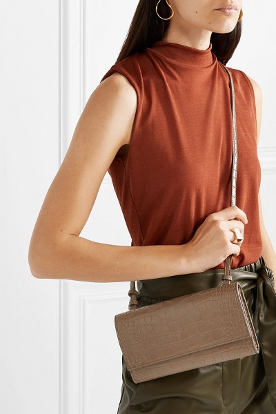 Nanushka day croc-effect vegan leather shoulder bag in mushroom - For about a decade, Nanushka flew under the radar as a...