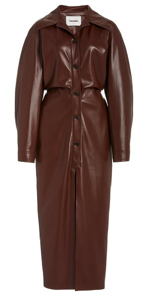 Nanushka sami vegan leather shirt dress in brown