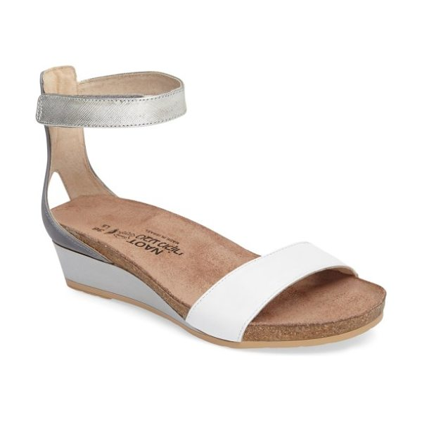 Naot 'pixie' sandal in white/ silver combo leather