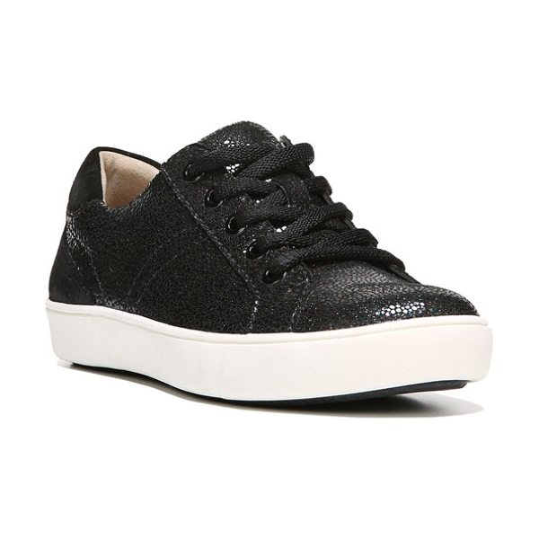 Naturalizer morrison sneaker in black pebble leather - A shimmery, color-blocked street sneaker is built for...