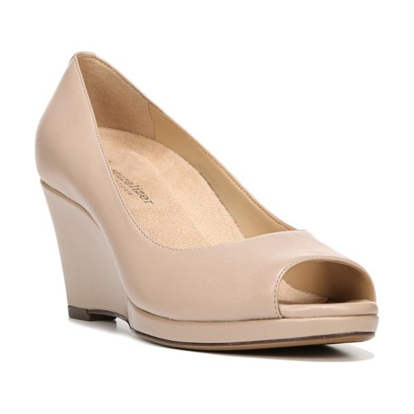 Naturalizer olivia peep toe wedge in taupe leather