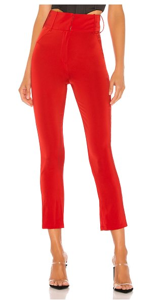 NBD satin cigarette pant in red