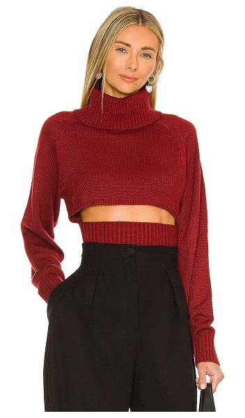 NBD winston cropped turtleneck sweater in deep red