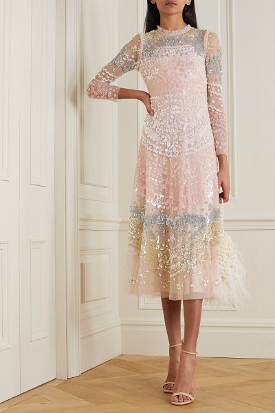 Needle & Thread angeline sequin ruffled embellished tulle midi dress in pink