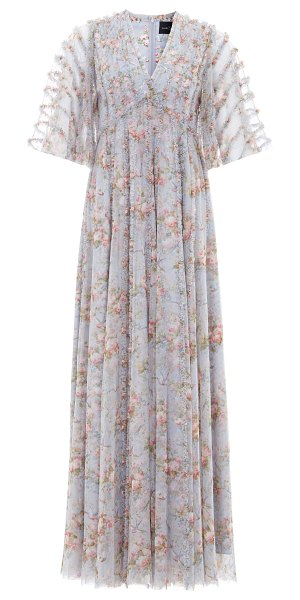 Needle & Thread avery printed tulle dress in blue