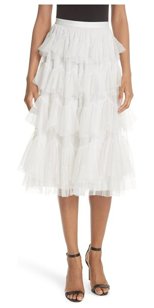 Needle & Thread tiered tulle skirt in white - Tiered with scalloped ruffles of dotted tulle and cut to...