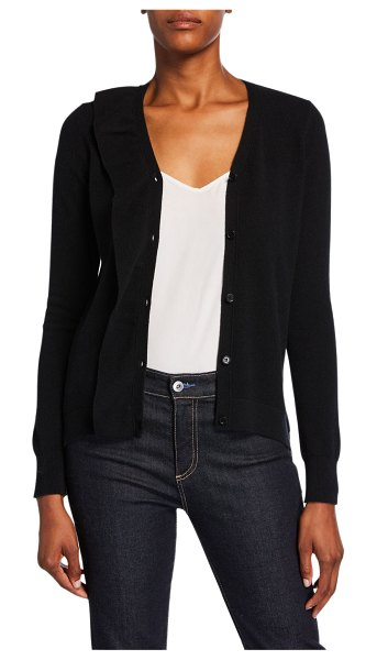 Neiman Marcus Cashmere Collection Cashmere Button-Front Ruffle Cardigan in black