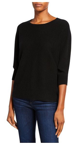 Neiman Marcus Cashmere Collection Crewneck 3/4-Sleeve Cashmere Sweater in black