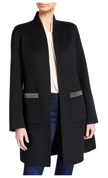 Neiman Marcus Cashmere Collection Double Face Cashmere Shawl Collar Coat w/ Chain Trimmed Pockets in black