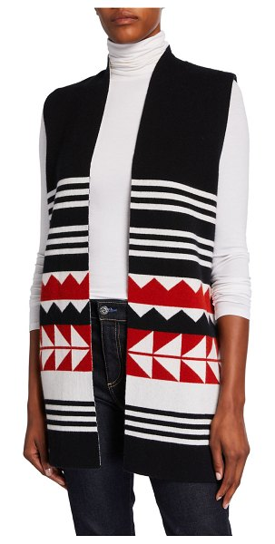 Neiman Marcus Cashmere Collection Reversible Cashmere Geometric Striped Vest in black