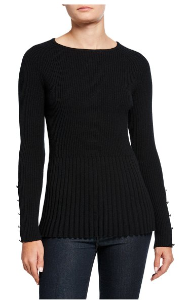 Neiman Marcus Cashmere Collection Ribbed Cashmere Peplum Sweater w/ Button Sleeve Detail in black