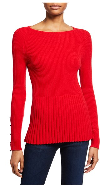 Neiman Marcus Cashmere Collection Ribbed Cashmere Peplum Sweater w/ Button Sleeve Detail in imperial red