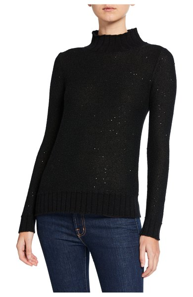 Neiman Marcus Cashmere Collection Sequin Cashmere Ribbed Turtleneck Sweater in black