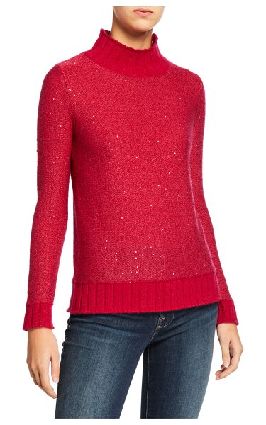 Neiman Marcus Cashmere Collection Sequin Cashmere Ribbed Turtleneck Sweater in dark raspberry