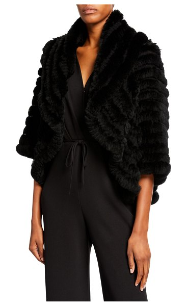 Neiman Marcus Cashmere Collection Striped Fur & Cashmere Shrug in black