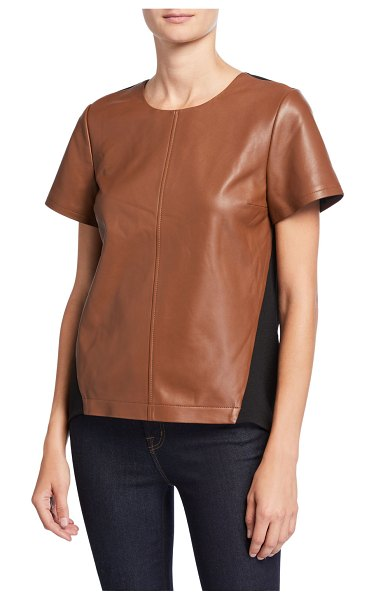 Neiman Marcus Leather Collection Lamb Leather & Ponte Back Top in cognac