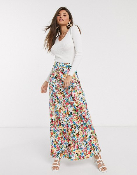 Neon Rose maxi skirt in vintage floral-white in white