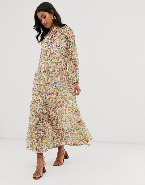 Neon Rose volume maxi shirt dress in vintage ditsy floral-multi in multi