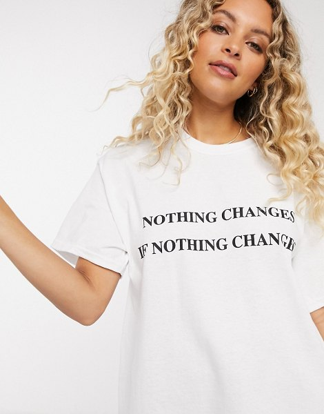 New Girl Order oversized t-shirt with change slogan-white in white