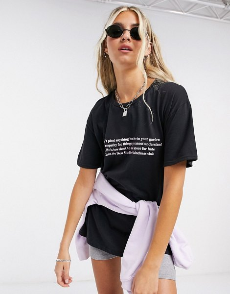 New Girl Order oversized t-shirt with kindness club graphic-black in black