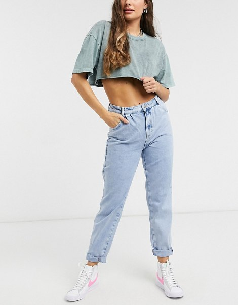 New Look balloon jeans in bleached light blue in blue