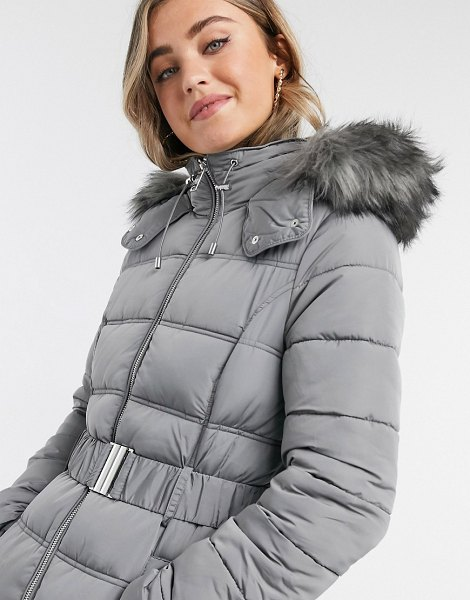 New Look belted padded jacket in gray in gray