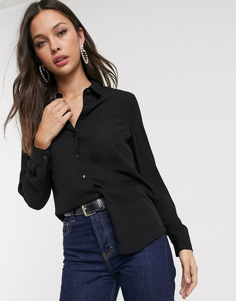 New Look button down shirt in black in black